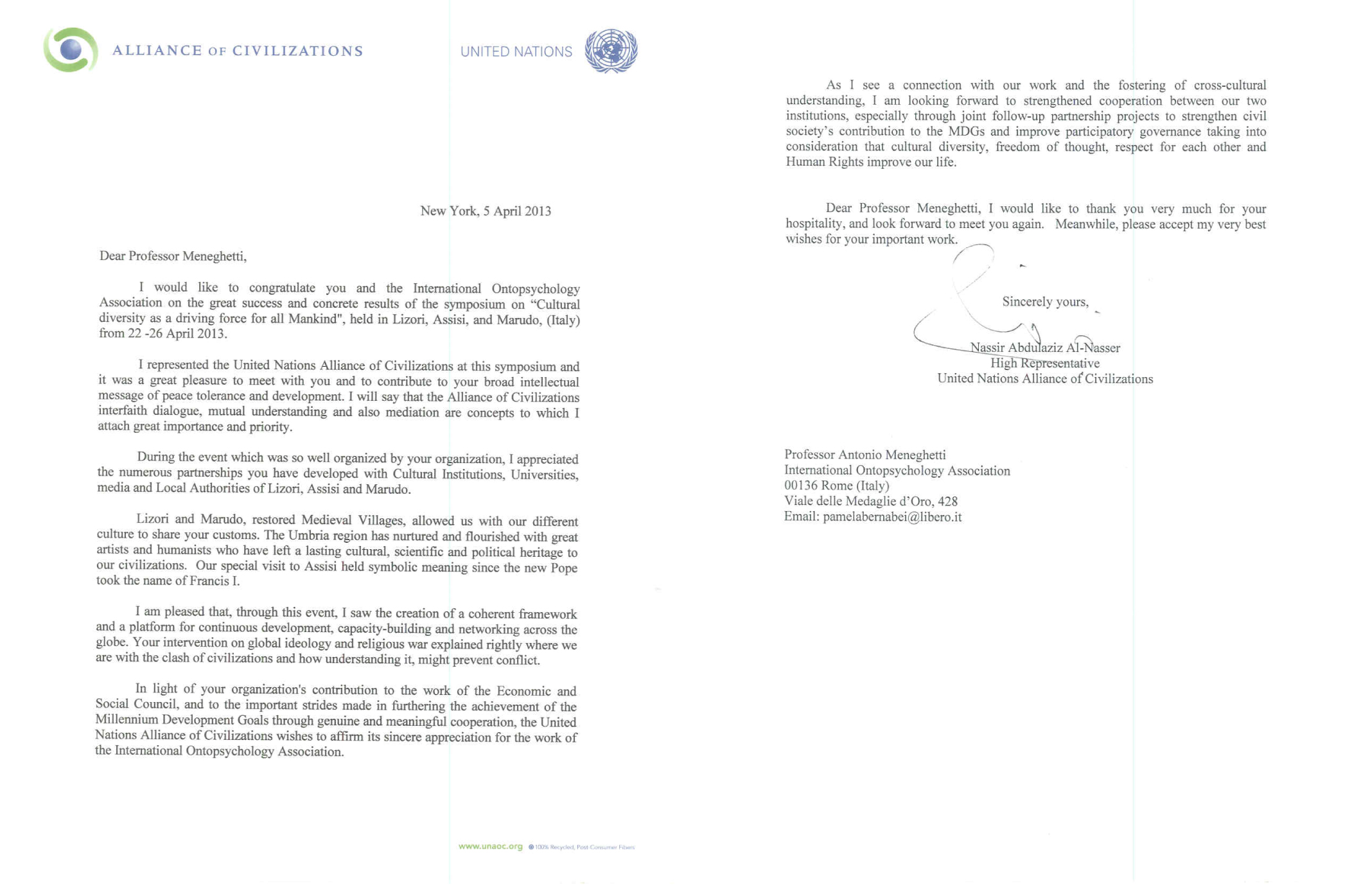 sito ufficiale dell associazione internazionale di ontopsicologia we post here the thank you letter from nassir al nasser high representative of the united nations alliance of civilizations for the round table promoted